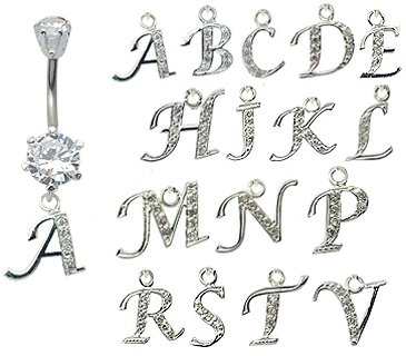 dangly initial belly button rings - laser cut CZ crytals - surgical steel 316L - bar length 10mm - many alphabets available