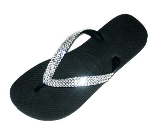 Image of BLACK CLEAR Swarovski Crystal Havaianas Flip Flops Sandals Thongs sizes 5-10 (B002H0KWGI)
