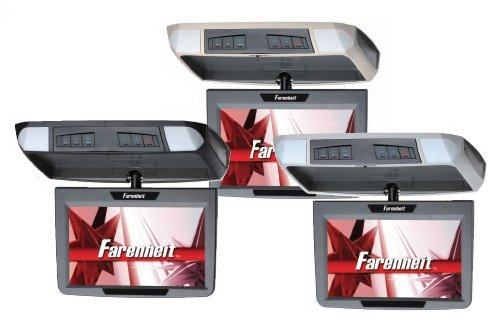 """Farenheit T-910Cm 9"""" Tft-Lcd Widescreen Overhead Flip-Down Monitor With 3 Snap-On Color Skins: Beige, Black And Gray"""