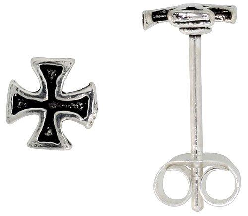 Tiny Sterling Silver Cross Stud Earrings