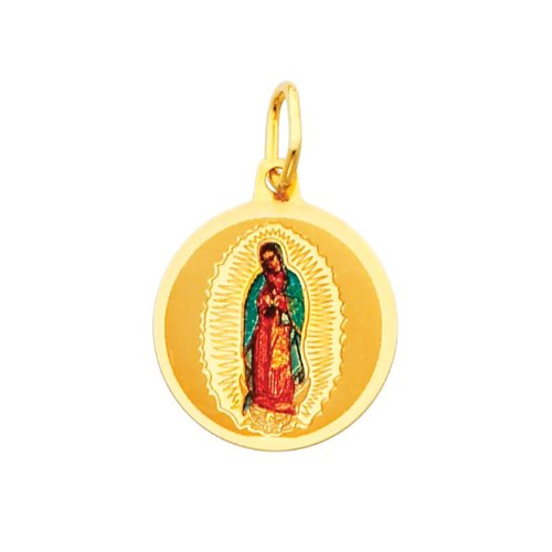 14K Yellow Gold Religious Our Lady of Guadalupe Enamel Picture Charm Pendant