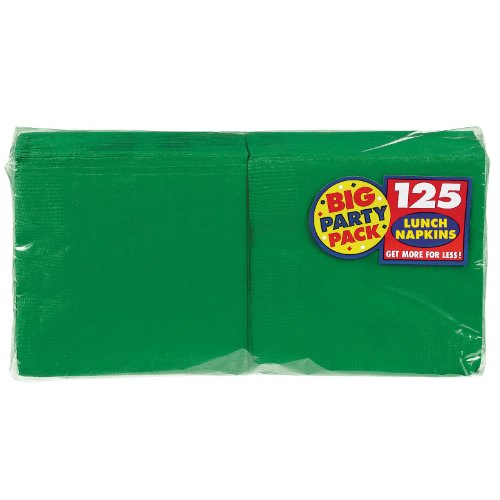 Amscan Big Party Pack 125 Count Luncheon Napkins, Green