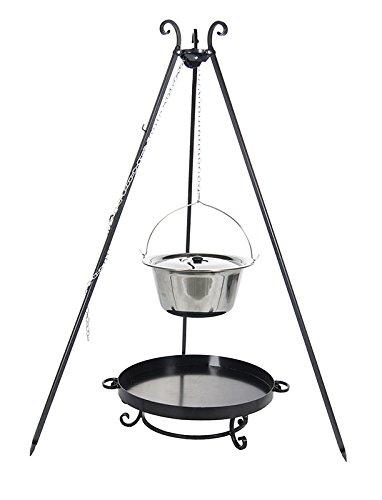 Gulaschkessel 8 ltr. Edelstahl mit Deckel auf Dreibein, inkl. Feuerschale # 32 kaufen