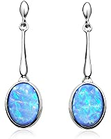 Blue opal drop earrings, sterling silver with cultured opals in a presentation box.