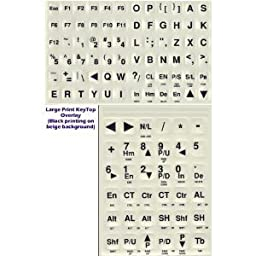 Large Print Keyboard Stickers - Black Letters on White / Off-White Background Keyboard Stickers Labels Stick-Ons for Low Dim Light or Weak Vision