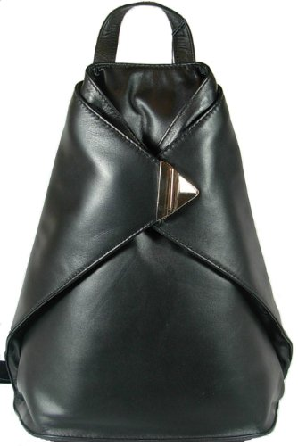 New ladies/girls stylish Visconti soft black leather backpack rucksack bag