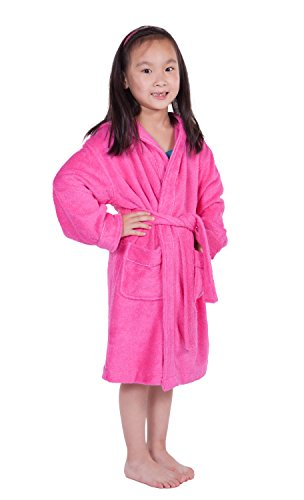 Kids' Hooded Terry Cloth Bathrobe (French Rose, Small) Kb0101-Frr-S front-203641