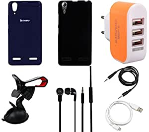 NIROSHA Cover Headphone / Hands Free USB Cable Car Holder for Lenovo A6000 - Combo