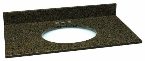 Design House 552356 Granite Single Bowl 31-Inch by 22-Inch Vanity Top, Tropical Brown