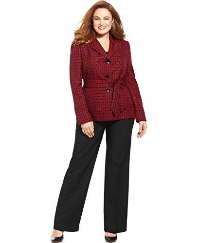 Le Suit Jacquard-Blazer Belted Pantsuit, Bordeaux Ruby Black, 16W
