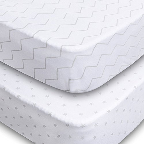 Crib Sheets - 2 Pack Fitted 100% Soft Jersey Cotton Sheet - Bedding with Unisex Chevron & Stars Custom Design - Fits Standard Mattress for Babies & Toddlers - Perfect Baby Shower Gift for Boys & Girls (Crib Sheet Fitted compare prices)