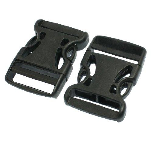 "Luggage Strap 1 1/2"" Repair Parts Plastic Side Quick Release Buckle Black 2 Pcs"