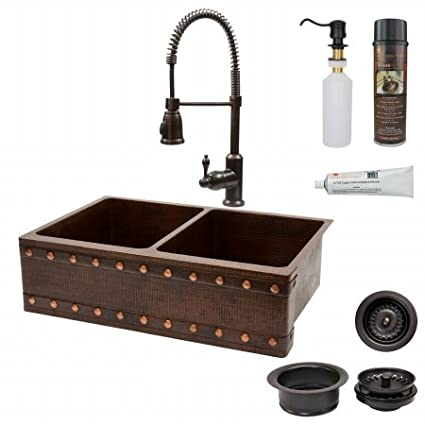 Premier Copper Products KSP4-KA50DB33229BS 33 in. Kitchen Apron 50-50 Double Basin Sink with Spring Pull Down Faucet - Barrel Strap