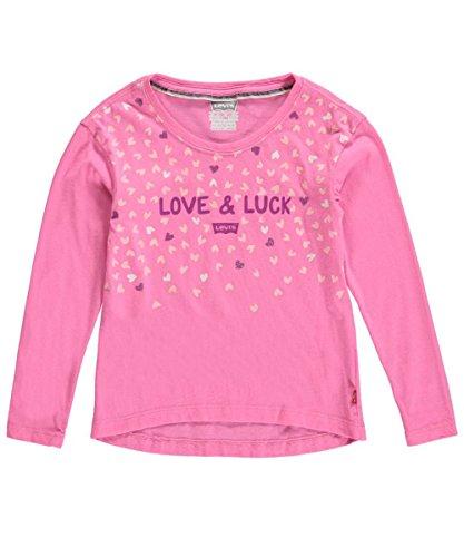 """Levi's Little Girls' """"Love & Luck"""" L/S T-Shirt - pink, 6"""