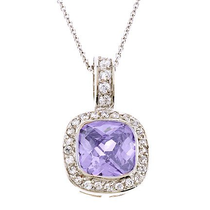 925 Sterling Silver Pendant Light Amethyst Square Shaped CZ Diamonds Bezel Setting - Incl. ClassicDiamondHouse Free Gift Box & Cleaning Cloth