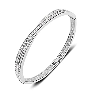 7 Ounces - Swarovski Elements Crystal Transparent - Bracelets/Bangle for Women/Girls - White Gold Plated Alloy Fashion Jewelry - Best Ideal Gift Perfect for Birthdays / Christmas /Mother's Day/Valentine's Day/ Wedding - 'Winter Sonata' - Inside diameter: 5.8 cm*4.8 cm