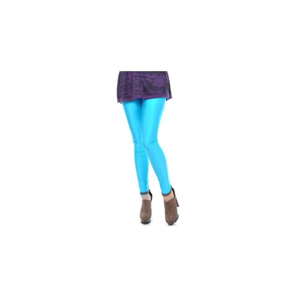 8f0a2c556f087 Anna Kaci S/M Fit Bright Neon Light Blue Ankle Length Leggings Tights