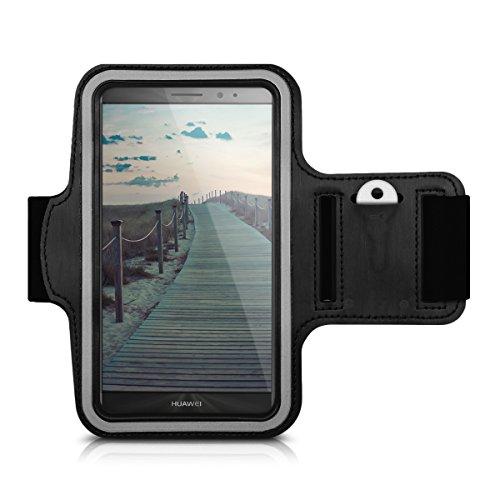 kwmobile fascia da braccio sportiva per Huawei Mate 8 - jogging corsa borsa da sport fascia fitness con scomparto per chiavi nella fascia da braccio in nero