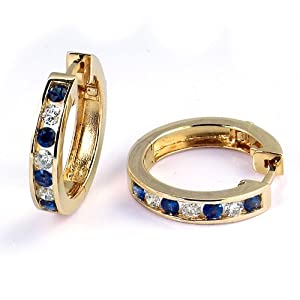 Click to buy ½ Carat Channel Set Diamond and Sapphire Hoop Earrings in 14K Yellow Gold from Amazon!