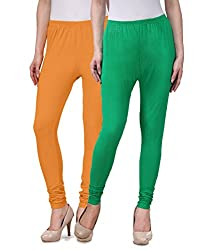 Desi Duos Women's Solid Cotton Leggings With Great Mustard Yellow & Green Color