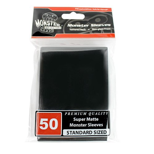 Sleeves - Monster Protector Sleeves - Standard Size Super Matte - BLACK (Fits MTG Magic the Gathering and Other Standard Sized Gaming Cards) - 1
