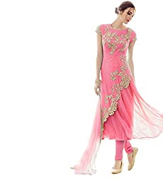 London Beauty Women's Net Salwar Suit Dress Material (286_Pink)