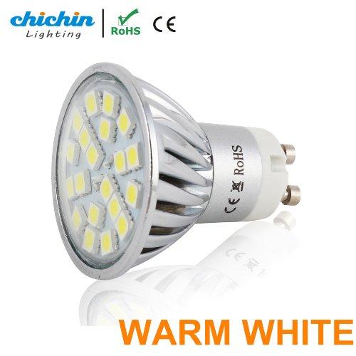 Chichinlighting® 1-Pack Warm White Led Gu10 Bulb 4 Watts Super Bright Spot Light Wide Angle Gu10 Flood Lamp Reflector