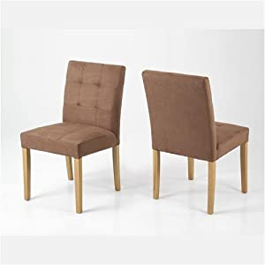 pair of low back dining chairs tan brown fabric lauren