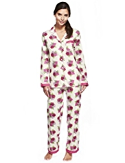 Pure Cotton Revere Collar Rose Print Pyjamas
