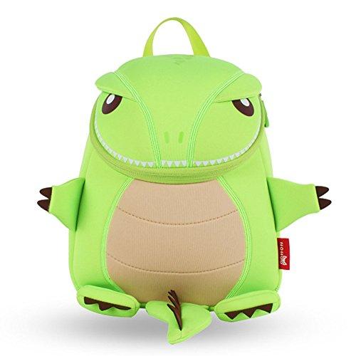 BINGONE NOHOO Kids Shoulder Bag 3D Cartoon Zoo Green Firedrake