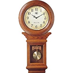 River City Clocks Chiming American Regulator Wall Clock with Swinging Pendulum and Oak Finish - 27 Inches Tall - Model # 3416O by River City Cuckoo Clock