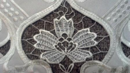 "35"" Table Runner Or Dresser Scarf With Antique Lace Insets"