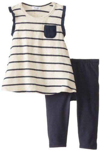 Splendid Little Girls' Stripe Top Playwear Set Toddler, White, 4T front-976589