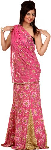 Exotic India Pink and Khaki Designer Lehenga Sari with Sequins Embroidered as Fl (Pink Indian Sari Adult Costume)
