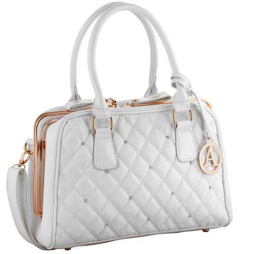 Abrazo Ladies P. U Handbag For Women (White) (Multicolor)