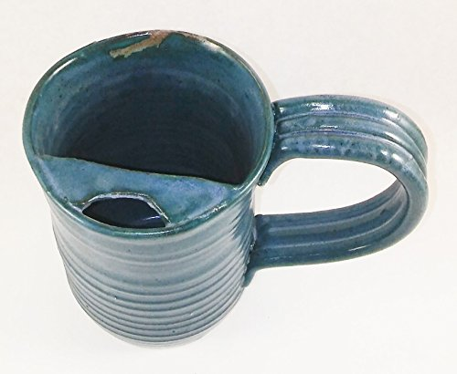 Aunt Chris' Pottery - Hand Made Clay - Right Handed Large Drinking Mug (Cup) With Mustache Guard - Blue Green (Turquoise) Glazed - Mug With Comfortable Loop Handle (Mustache Cup compare prices)