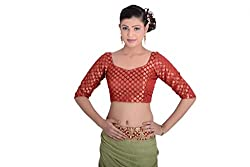 Inblue Fashions Red Brocade Blouse