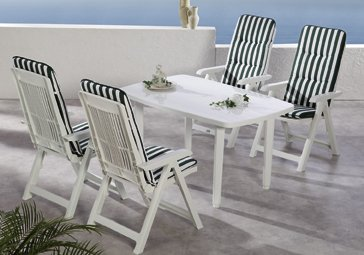 Beauty.Scouts 9tlg Gartengarnitur Sitzgruppe Algarve inkl. Verschieden Farbenden Sitzgarnituren Weiß günstig bestellen