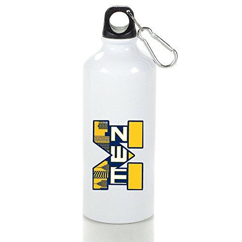 Texhood University Of M Logo Michigan Ann Arbor White Aluminum Custom Sports Kid Bottle