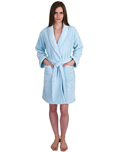 TowelSelections Womens Short Fleece Spa Robe Soft Plush Bathrobe Made in Turkey