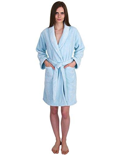 TowelSelections Womens Short Fleece Spa Robe Soft Plush Bathrobe Made in Turkey