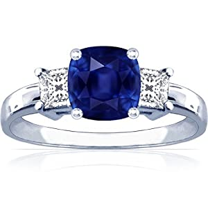 14K White Gold Cushion Cut Blue Sapphire Three Stone Ring