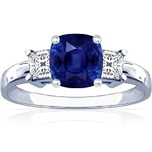 Platinum Cushion Cut Blue Sapphire Three Stone Ring