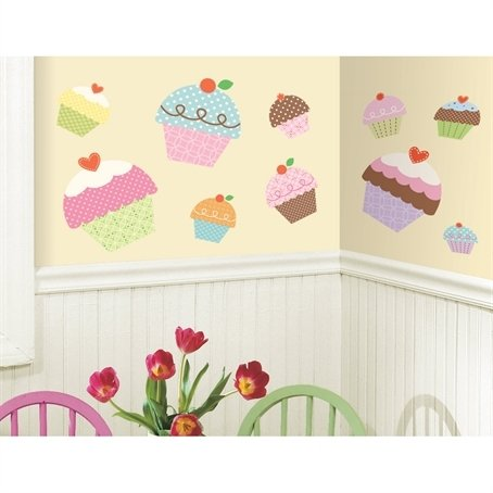 Happi Cupcake 10 Big Vinyl Wall Decals Girls Nursery Room Decor Stickers front-1004701