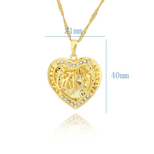 Allah in the Middle of Heart Shaped CZ Necklace Pendant for Muslim