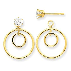14k Yellow Gold Double Circle Jacket w/CZ Stud. Gold Wt- 0.75g.