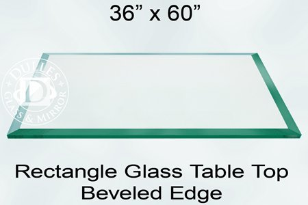 Superb 36x60 Inch Rectangle Glass Table Top, 1/4 Inch Thick, Bevel Polished Edge,  Eased Corners, Tempered