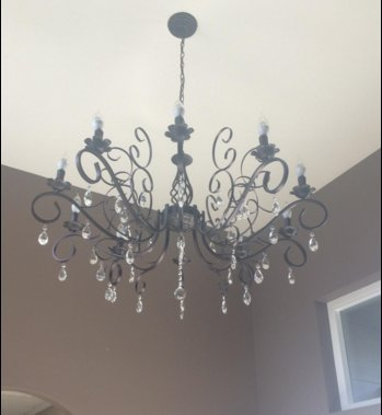 CLAXY Ecopower Vintage Wrought Iron 10-lights Chandelier with Crystal Dangle 3