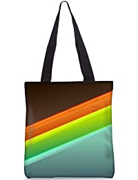 Snoogg Set Of Colorful Strips Digitally Printed Utility Tote Bag Handbag Made Of Poly Canvas