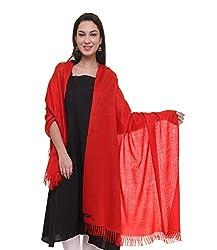 Red self design fine wool shawl